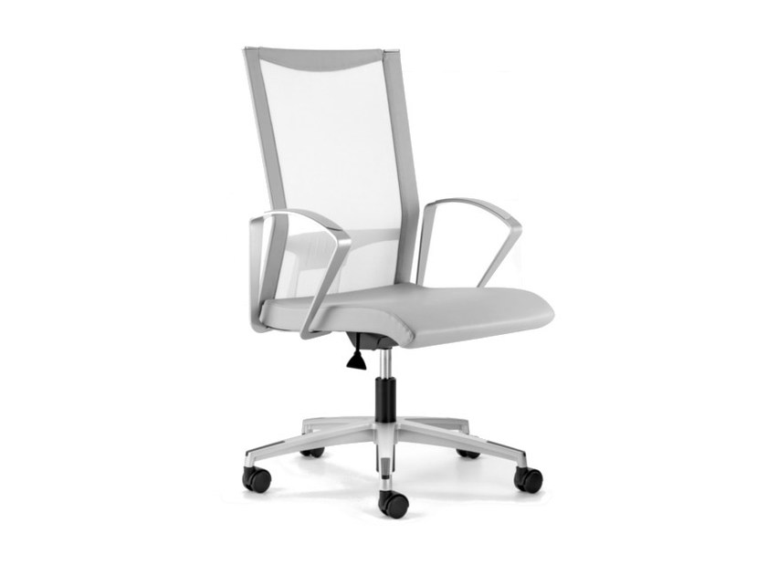 Mesh task chair with 5-Spoke base with armrests with casters AVIANET 3664 by TALIN