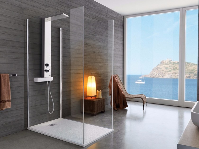 Stainless steel shower panel with overhead shower AXI by Samo