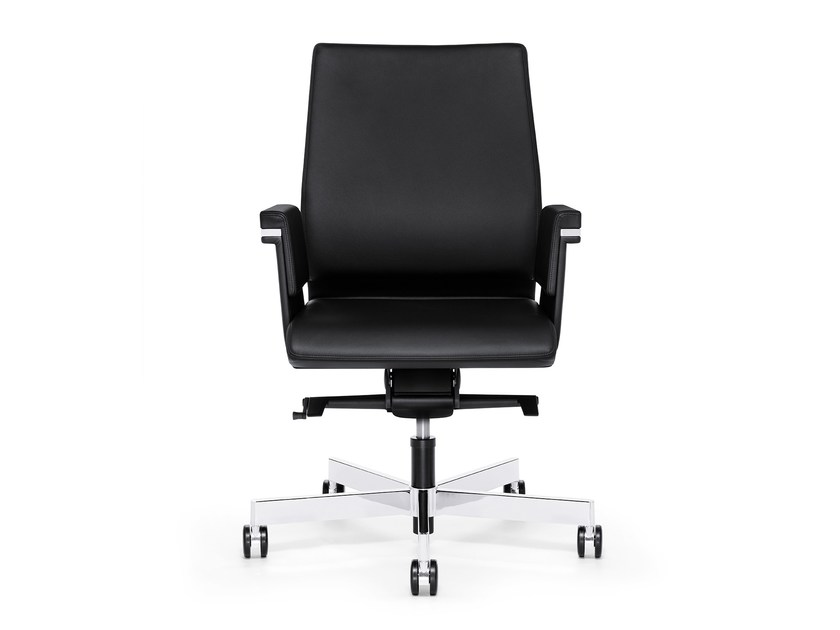 Swivel leather executive chair with casters AXOS 264A by Interstuhl