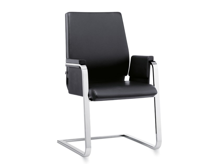 Cantilever leather training chair with armrests AXOS 560A by Interstuhl