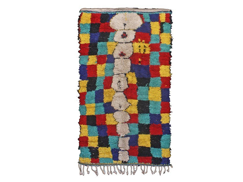 Patchwork rectangular wool rug AZILAL TAA851BE by AFOLKI