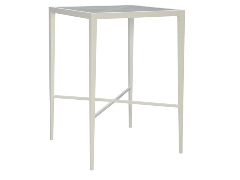 Square glass and aluminium high table AZIMUTH CROSS | High table by JANUS et Cie