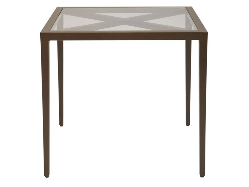Square glass and aluminium side table AZIMUTH CROSS | Side table by JANUS et Cie