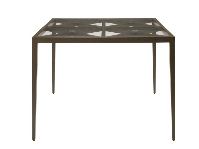 Square glass and aluminium dining table AZIMUTH CROSS   Square table by JANUS et Cie
