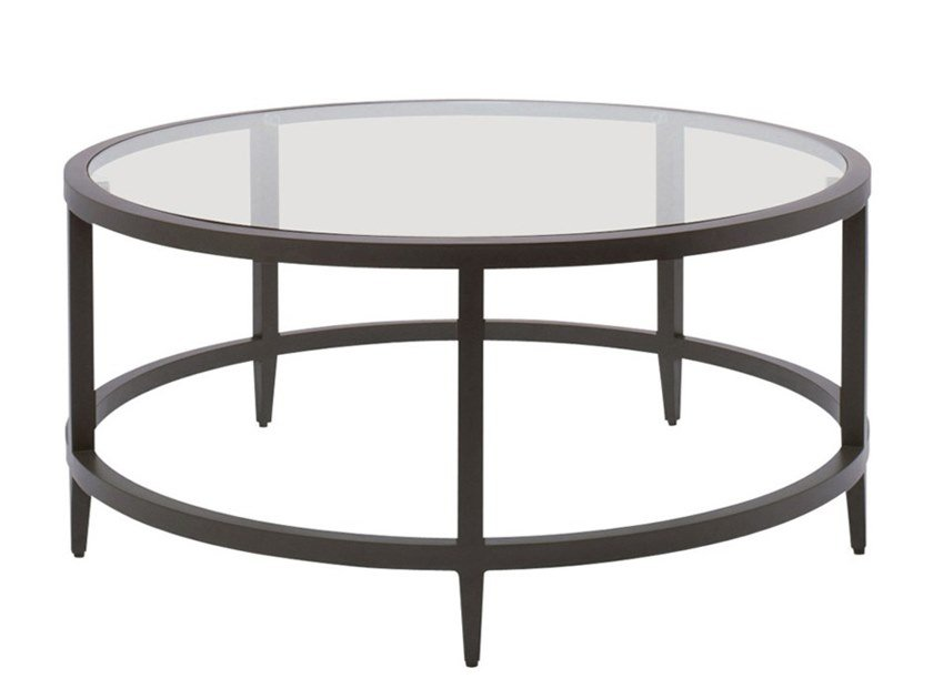 Round glass and aluminium coffee table AZIMUTH LINEAR | Coffee table by JANUS et Cie