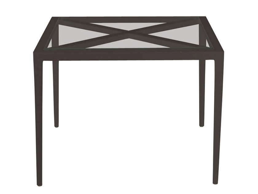 Square glass and aluminium coffee table AZIMUTH CROSS   Square coffee table by JANUS et Cie