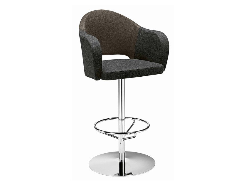Swivel upholstered stool with armrests Agatha 383 by Metalmobil