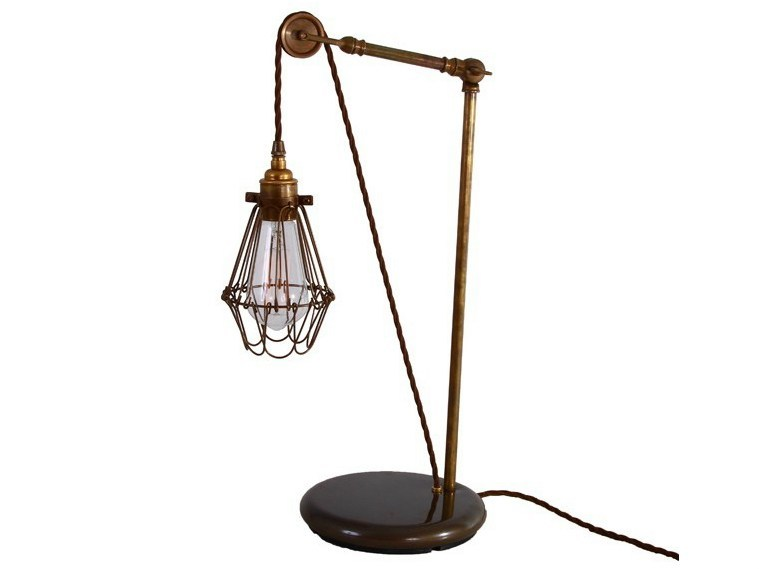 Direct light handmade desk lamp apoch pulley cage table lamp by mullan lighting