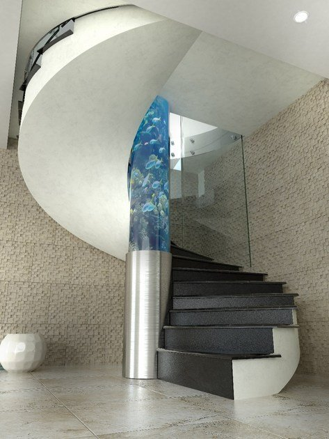 Glass Spiral staircase AQUA by Siller Treppen