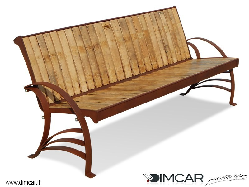 Steel and wood Bench with back Panchina Argese by DIMCAR
