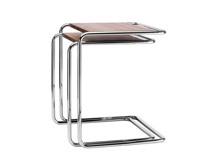 Steel and wood side table B 97 Pure Materials by Thonet
