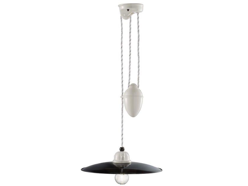 Adjustable ceramic pendant lamp B&W | Adjustable pendant lamp by FERROLUCE