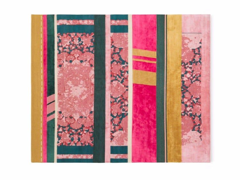 Rectangular striped wool rug B4 | Rug by Golran