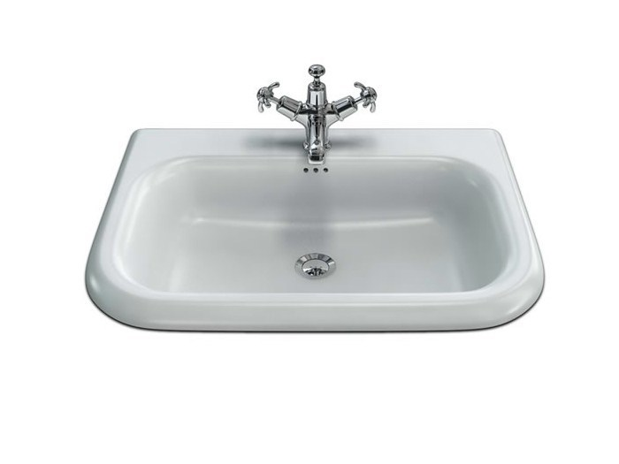 Rectangular wall-mounted natural stone washbasin B8E | Washbasin with overflow by Polo