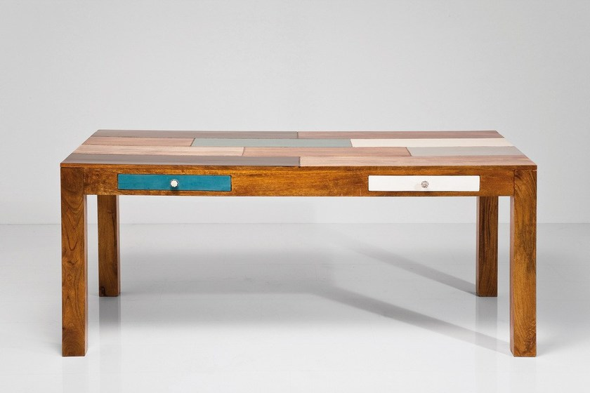 Lacquered rectangular poplar table with drawers BABALOU EU | Table by KARE-DESIGN