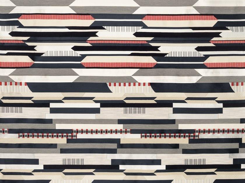 Jacquard silk fabric with graphic pattern BABELIA by Dedar