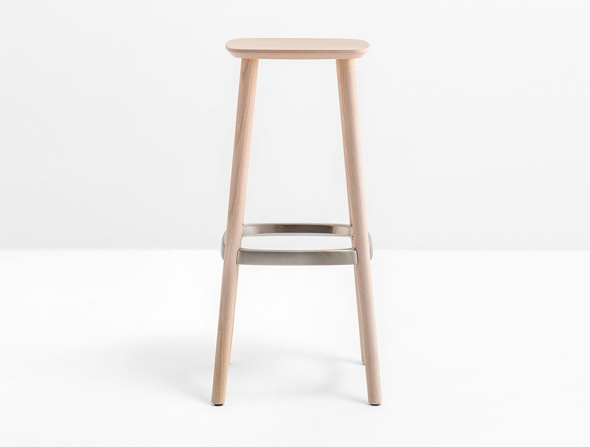 Wooden stool with footrest BABILA 2706 by Pedrali