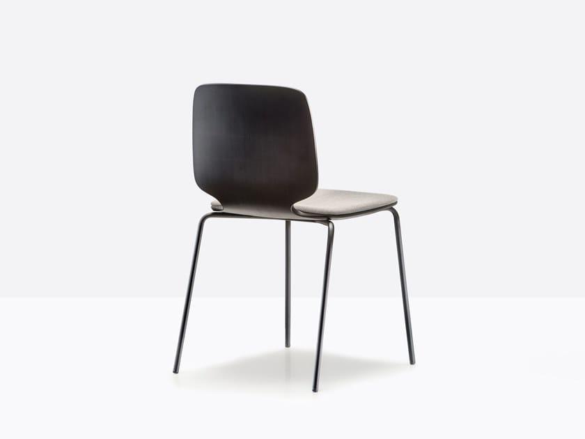 Sedia laccata in multistrato con cuscino integrato BABILA 2710/A by Pedrali