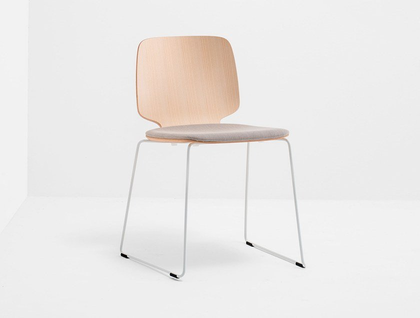 Sled base wooden chair BABILA 2720 by PEDRALI