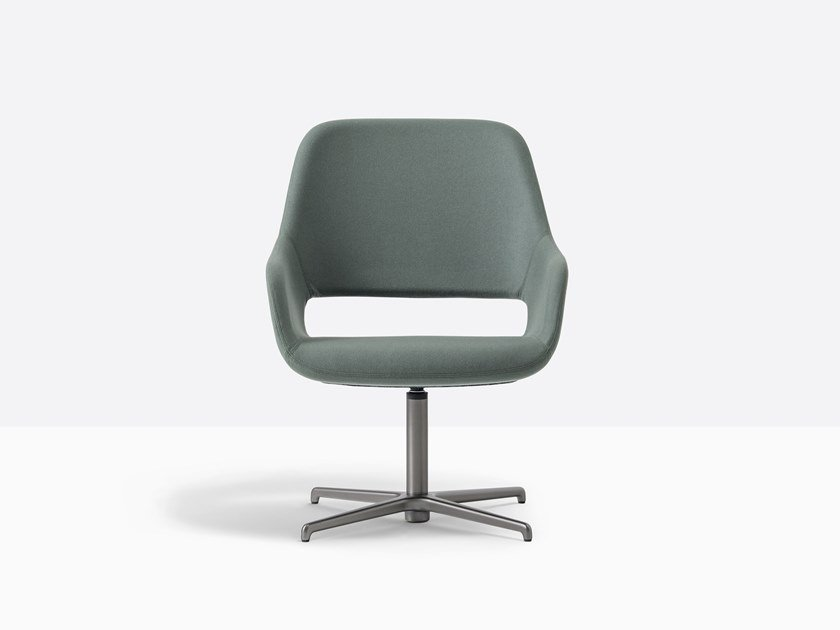 Swivel fabric easy chair with armrests BABILA 2789 by PEDRALI