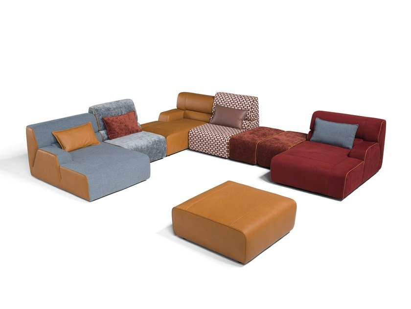 Corner sectional modular fabric sofa BABOUCHE | Sectional sofa by Egoitaliano
