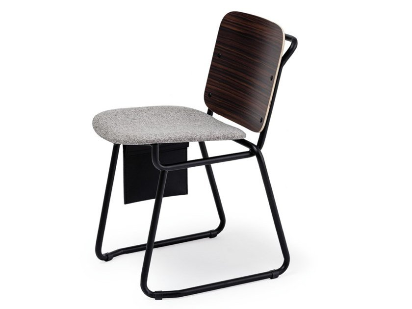 Sled base chair with integrated cushion BABYLONE 02 by Manganèse Éditions