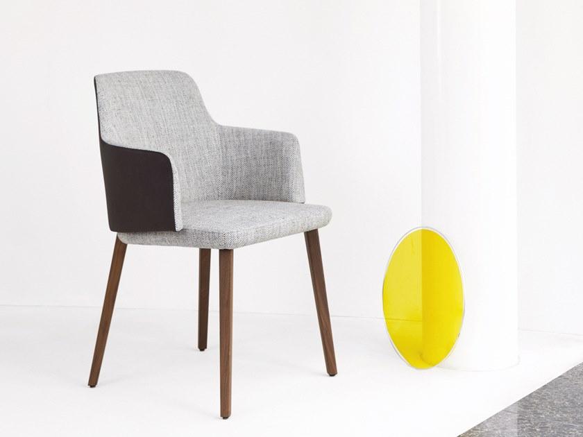 Fabric chair with armrests BACK ME UP | Chair with armrests by Montis