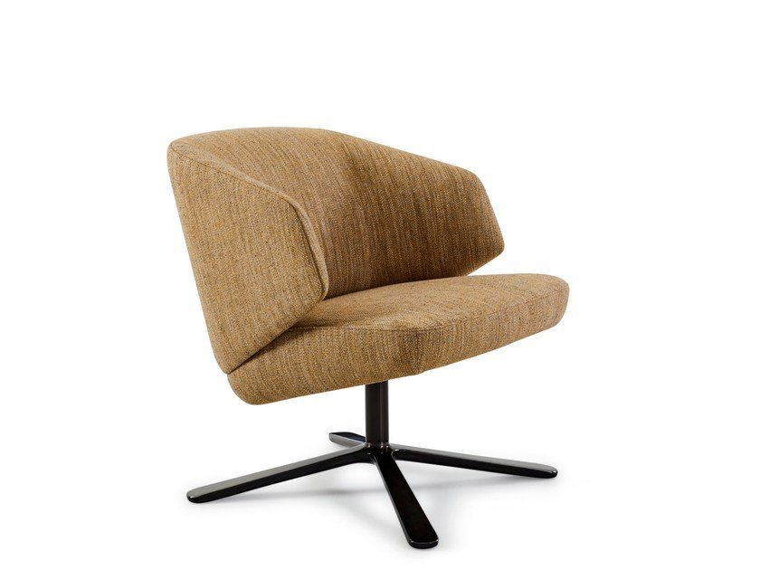 Fabric armchair with 4-spoke base with armrests BACK ME UP LOUNGE | Armchair with 4-spoke base by Montis