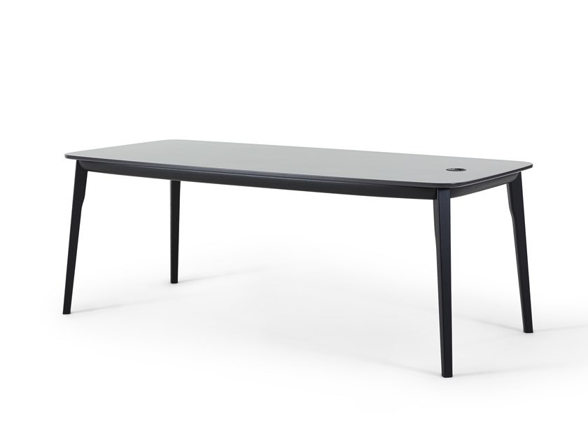 Lacquered rectangular wooden table BACK ME UP | Table by Montis