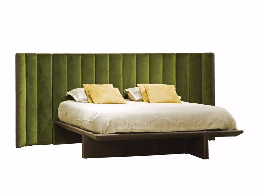 Fabric double bed with high headboard BACKSTAGE by ROCHE BOBOIS