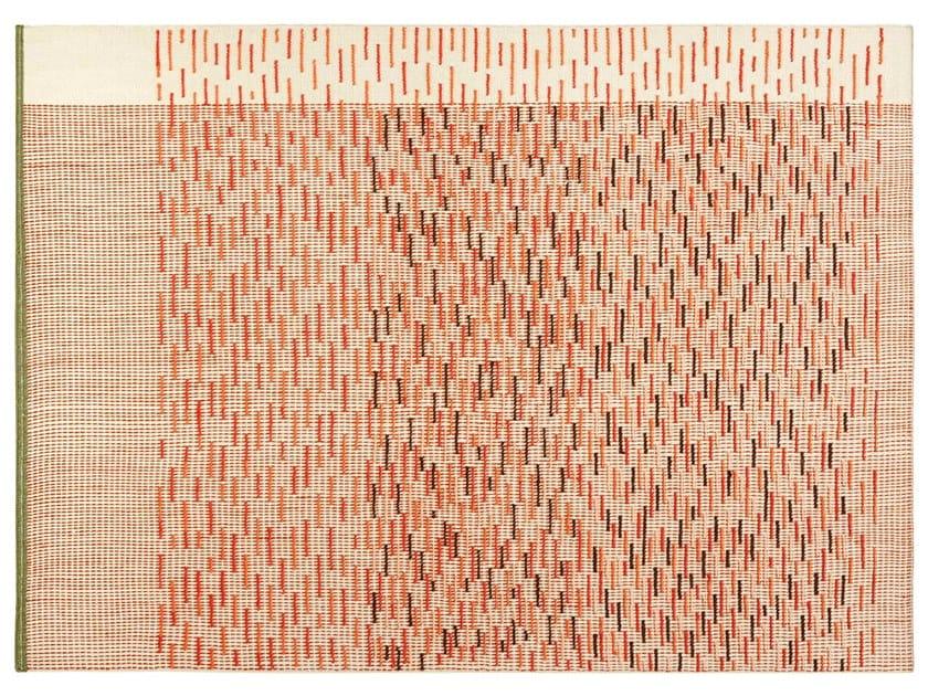 Handmade rectangular striped wool rug BACKSTITCH BUSY BRICK by GAN