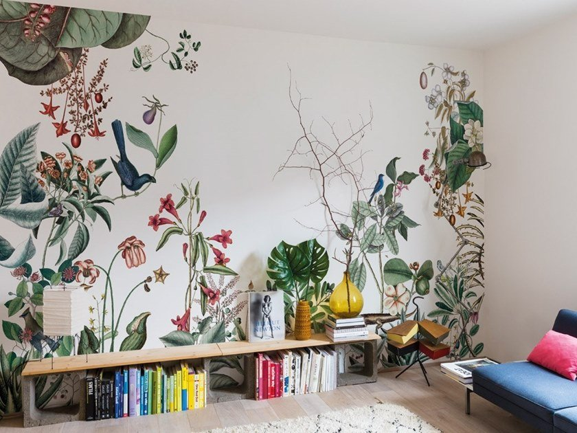 Non-woven paper wallpaper with floral pattern BAHAMAS by Bien fait