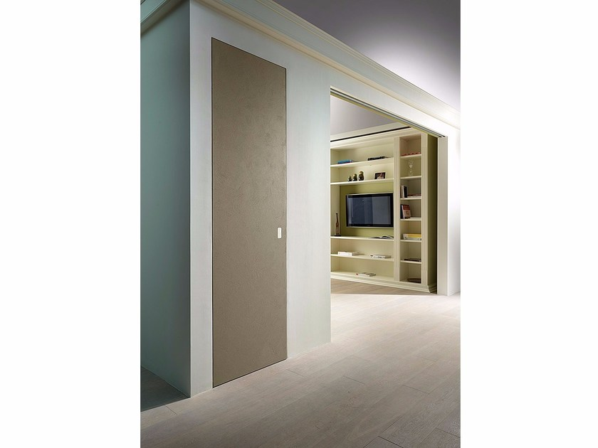 Flush-fitting sliding door with cement-finished top BAKLITE by BARAUSSE