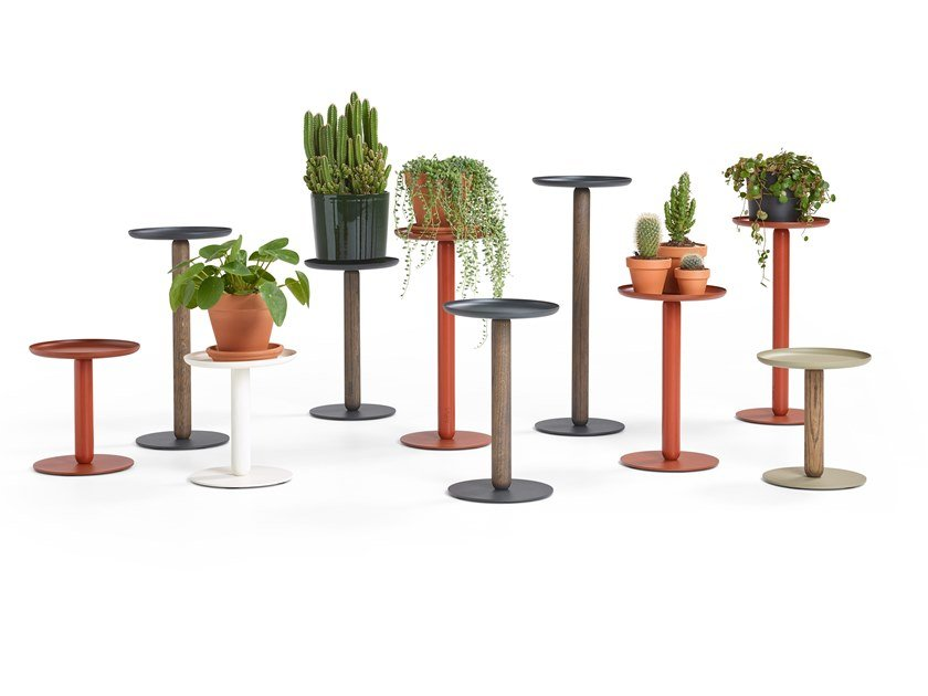 Steel and wood plant pot / pedestal BALANS MINI by Artifort