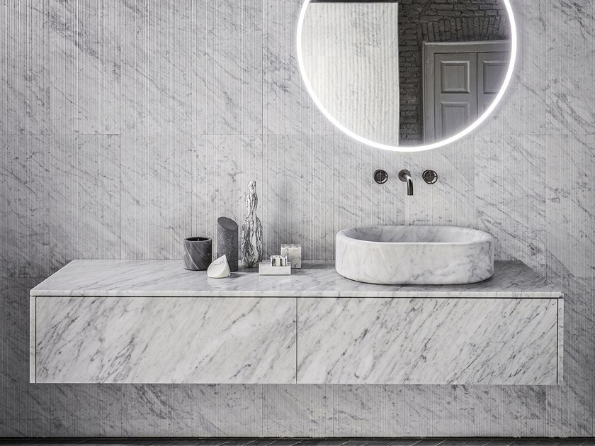 Sectional wall-mounted marble vanity unit with drawers BALNEA | Vanity unit with drawers by Salvatori