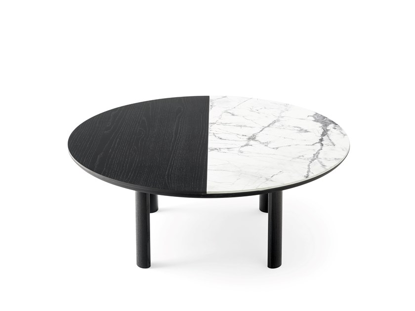 Round wood veneer and ceramic coffee table BAM   Round coffee table by Calligaris