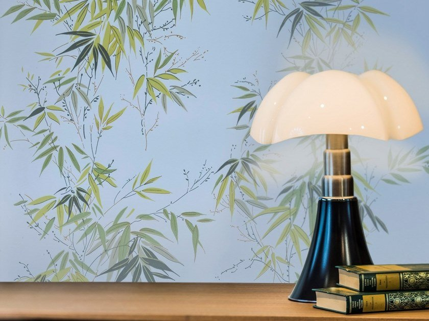Non-woven paper wallpaper with floral pattern BAMBOUS by Isidore Leroy