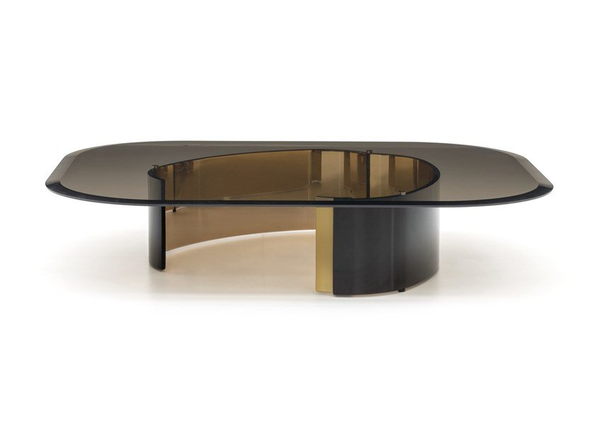 Rectangular glass coffee table for living room BANGLE | Rectangular coffee table by Minotti