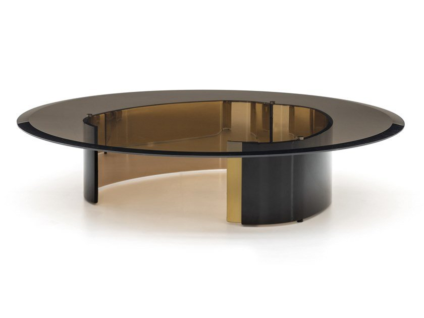 Tavolino rotondo in vetro da salotto BANGLE | Tavolino rotondo by Minotti