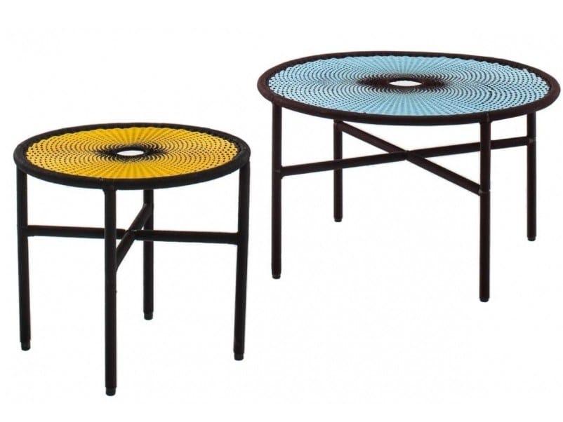 Steel and polyethylene threads handwoven coffee table BANJOOLI | Coffee table by Moroso