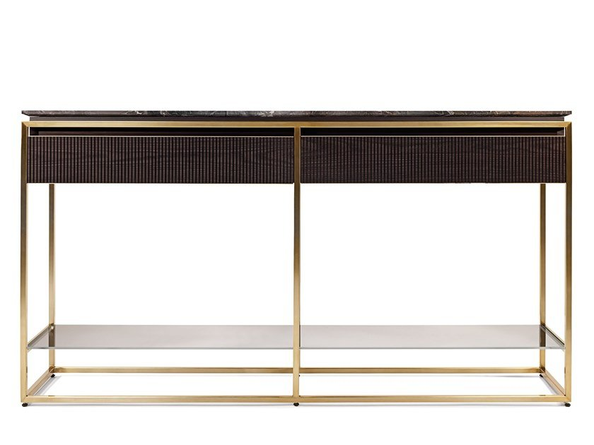 Rectangular marble console table with drawers BANNER | Console table by Visionnaire