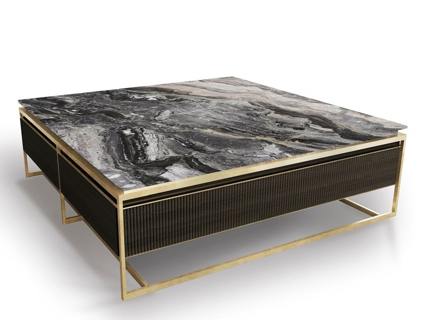Low Marble Coffee Table For Living Room Banner By Visionnaire