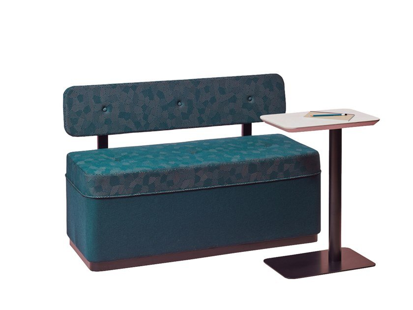 Upholstered fabric bench with back BANQUETTE T'S by La Manufacture du Design