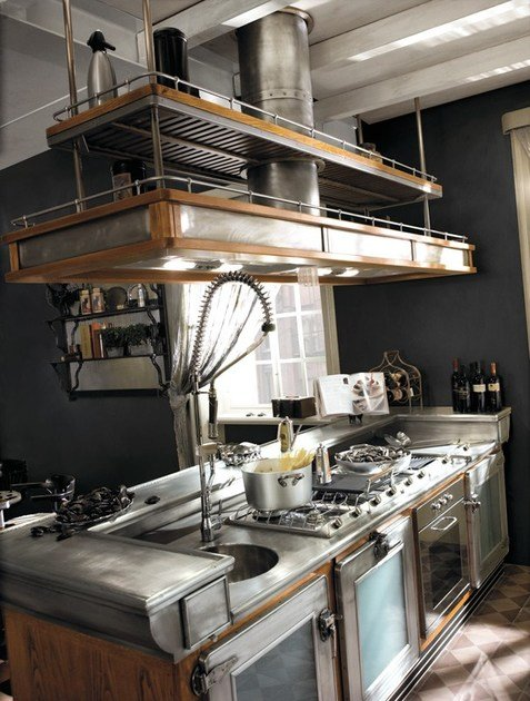 Cucina componibile in acciaio inox e legno con isola bar barman by marchi cucine - Cucine legno e acciaio ...