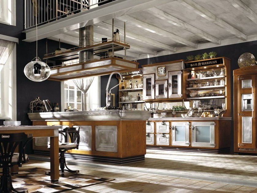 Fitted wood kitchen BAR & BARMAN by Marchi Cucine