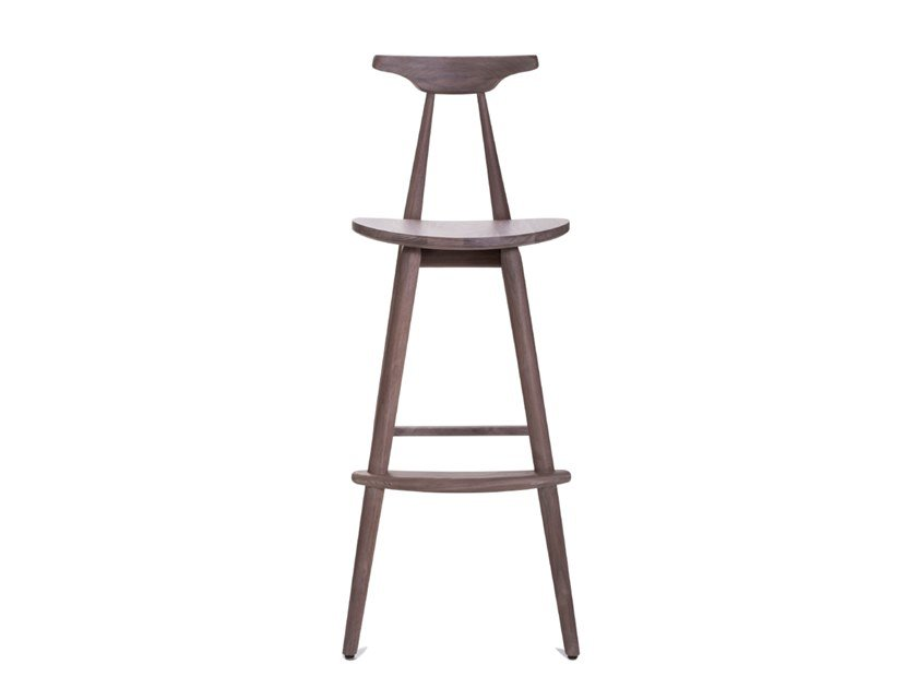 Solid wood barstool with footrest BAR CHAIR by STELLAR WORKS