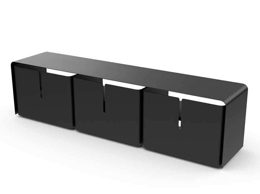Powder coated steel TV cabinet BARBER | TV cabinet by Matière Grise