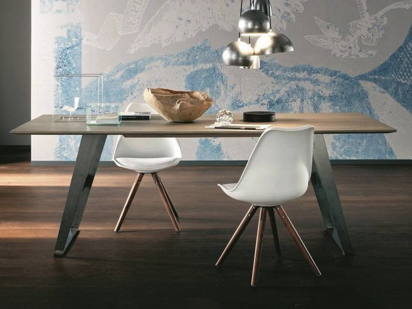 Rectangular oak living room table BARCELLONA + IRON by AltaCorte