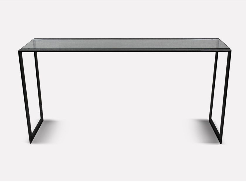 Rectangular Glass and Stainless Steel console table BARCELONA | Console table by MORADA