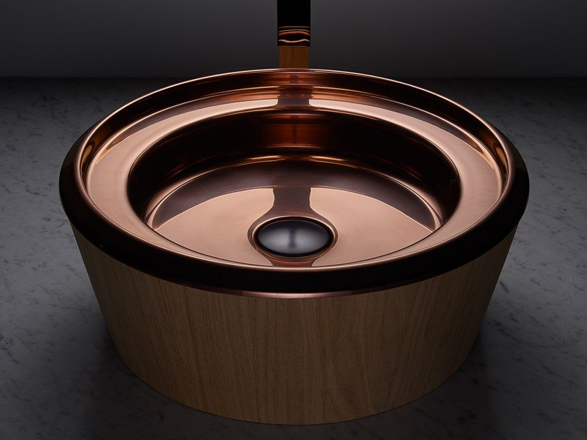 Countertop round stainless steel and wood washbasin BARN COPPER by BASSINES